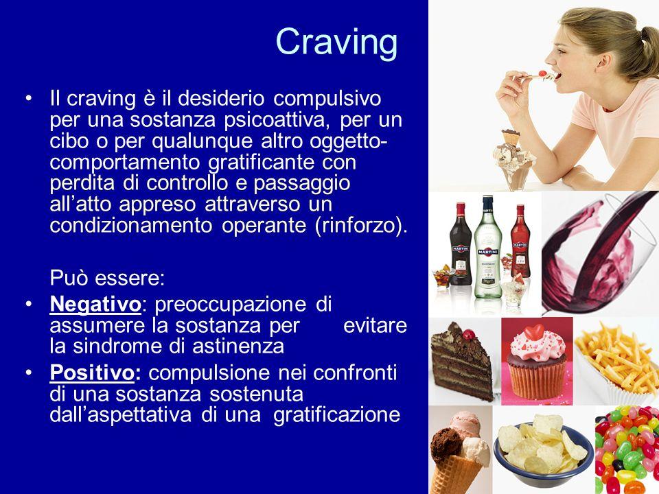 Craving Il craving è il desiderio compulsivo per una sostanza psicoattiva, per un cibo o per qualunque altro oggetto- comportamento gratificante con p