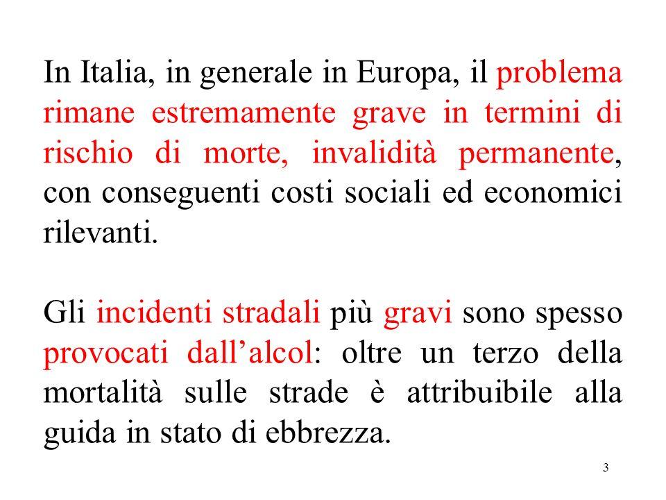 3 In Italia, in generale in Europa, il problema rimane estremamente grave in termini di rischio di morte, invalidità permanente, con conseguenti costi sociali ed economici rilevanti.