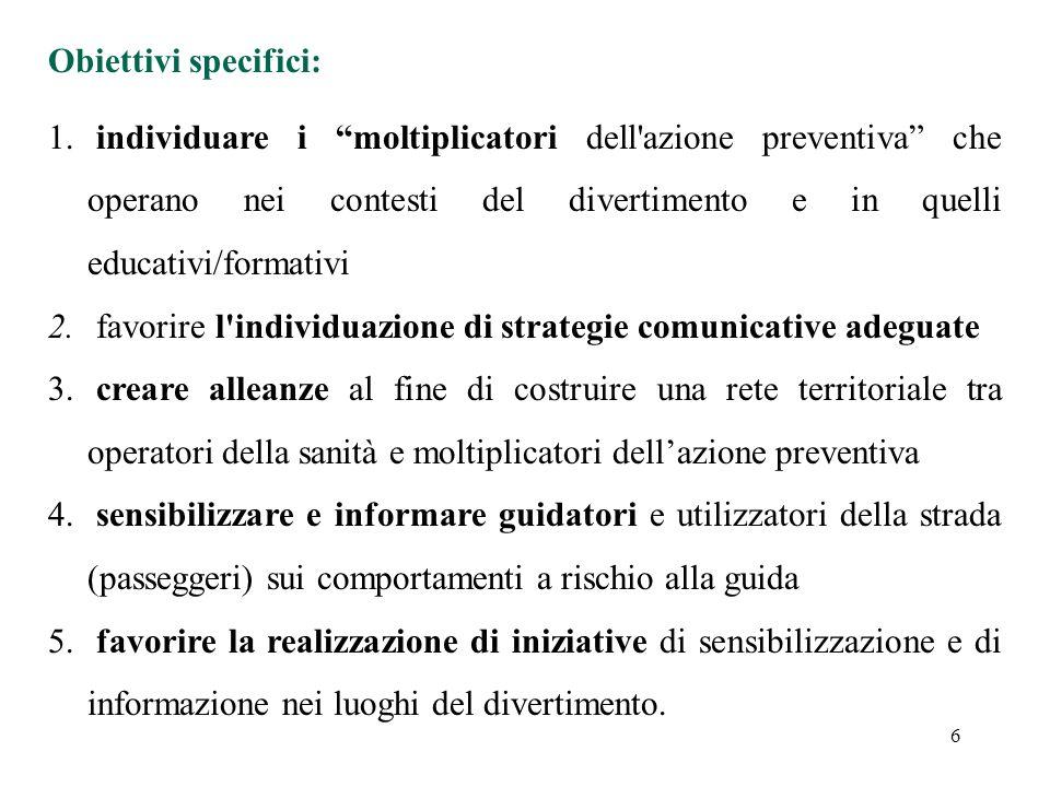 6 Obiettivi specifici: 1.