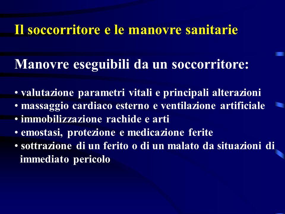 Il soccorritore e le manovre sanitarie Manovre eseguibili da un soccorritore: valutazione parametri vitali e principali alterazioni massaggio cardiaco