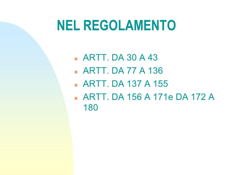 NEL REGOLAMENTO n ARTT. DA 30 A 43 n ARTT. DA 77 A 136 n ARTT. DA 137 A 155 n ARTT. DA 156 A 171e DA 172 A 180