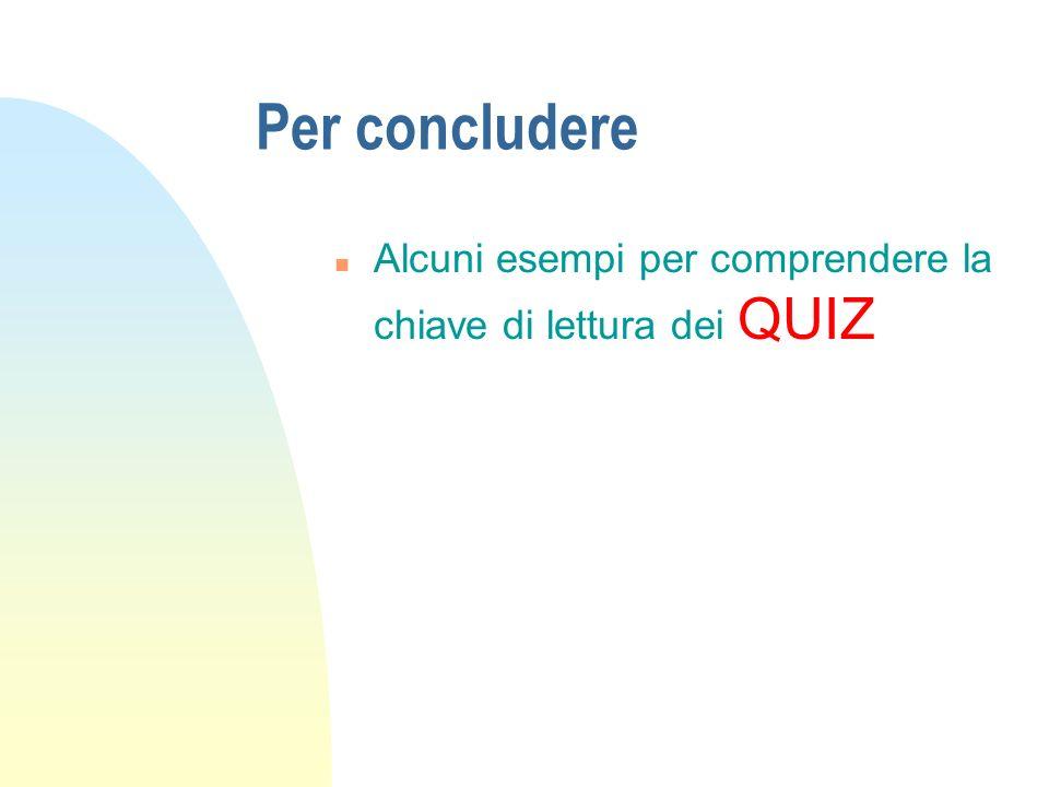 Per concludere n Alcuni esempi per comprendere la chiave di lettura dei QUIZ