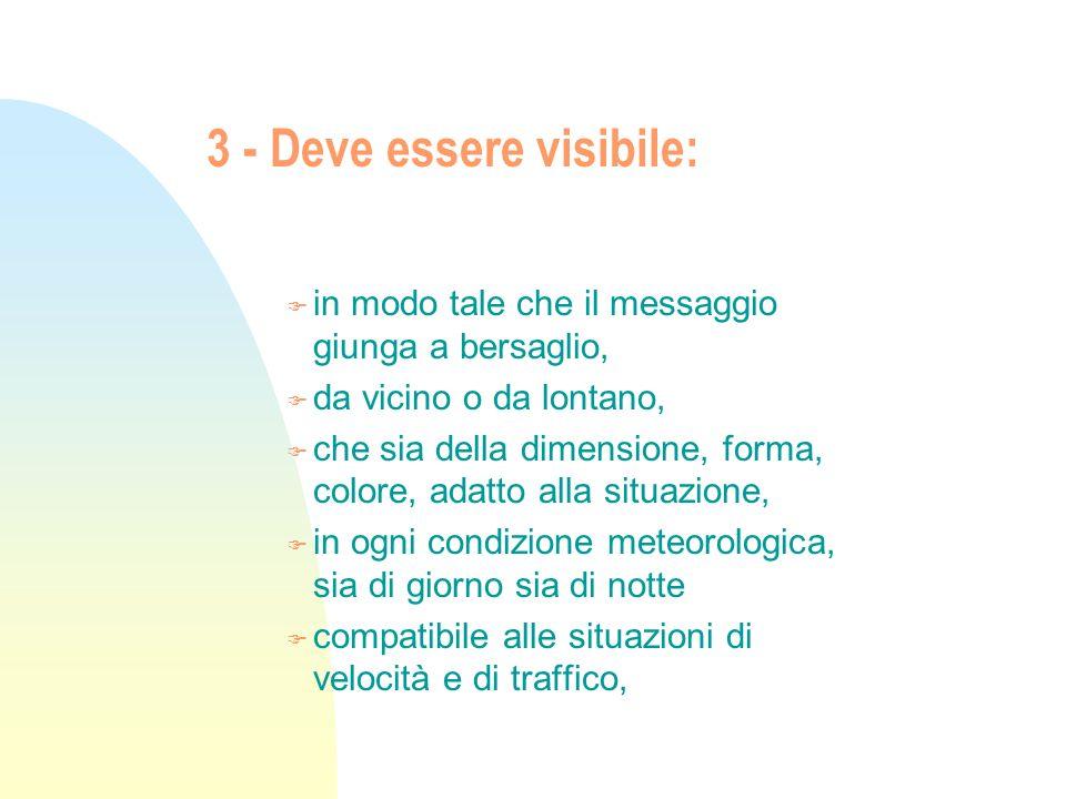 3 - Deve essere visibile: F in modo tale che il messaggio giunga a bersaglio, F da vicino o da lontano, F che sia della dimensione, forma, colore, ada
