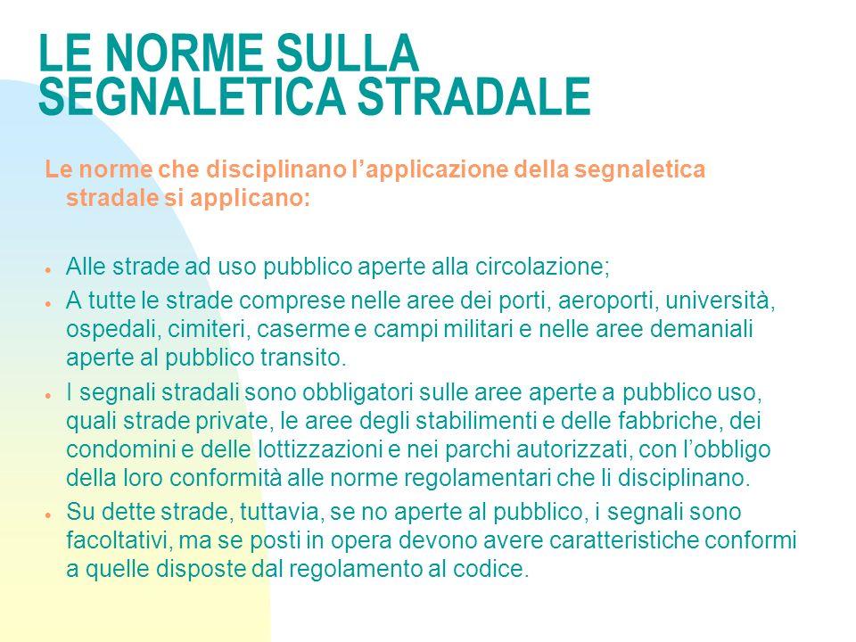 LE NORME generali SULLA SEGNALETICA STRADALE NEL CODICE DELLA STRADA n ART.