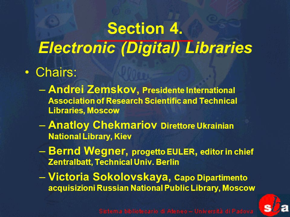 Session 2.Second meeting Electronic information resources on mathematics - Chair: B.