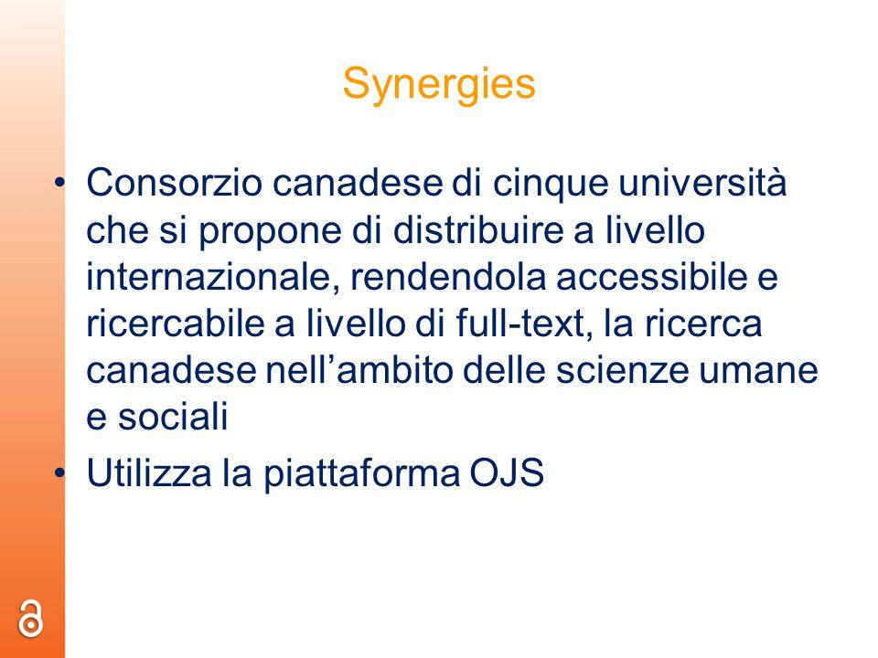 Synergies Consorzio canadese di cinque università che si propone di distribuire a livello internazionale, rendendola accessibile e ricercabile a livel