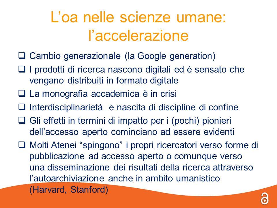 Loa nelle scienze umane: laccelerazione Cambio generazionale (la Google generation) I prodotti di ricerca nascono digitali ed è sensato che vengano di