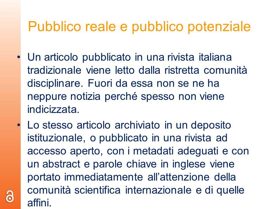 Pubblico reale e pubblico potenziale Un articolo pubblicato in una rivista italiana tradizionale viene letto dalla ristretta comunità disciplinare. Fu