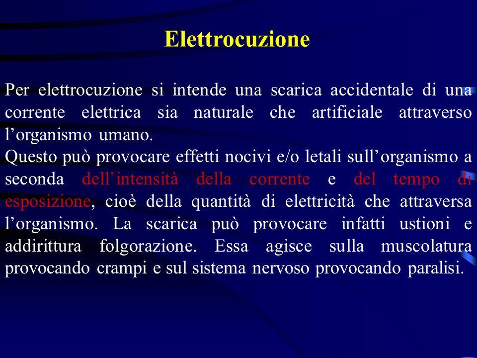 Elettrocuzione Per elettrocuzione si intende una scarica accidentale di una corrente elettrica sia naturale che artificiale attraverso lorganismo uman