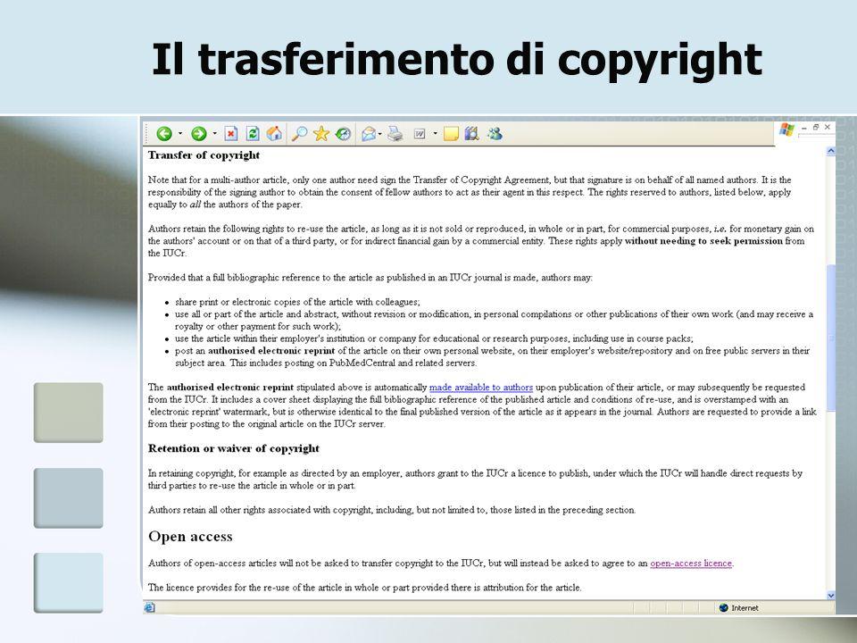 22 Il trasferimento di copyright
