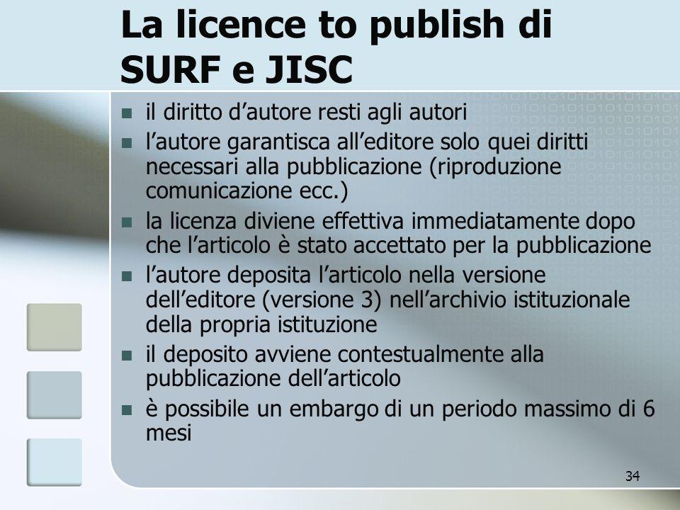 34 La licence to publish di SURF e JISC il diritto dautore resti agli autori lautore garantisca alleditore solo quei diritti necessari alla pubblicazi