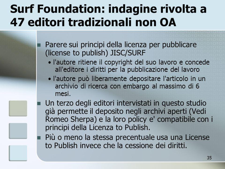 35 Surf Foundation: indagine rivolta a 47 editori tradizionali non OA Parere sui principi della licenza per pubblicare (license to publish) JISC/SURF