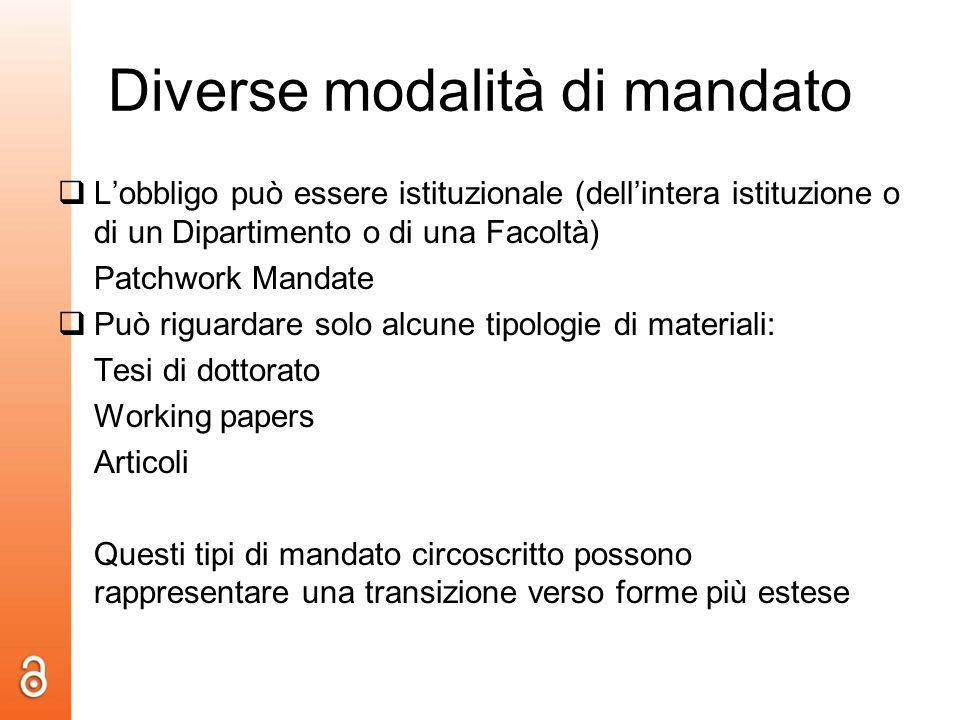 Diverse modalità di mandato Lobbligo può essere istituzionale (dellintera istituzione o di un Dipartimento o di una Facoltà) Patchwork Mandate Può rig