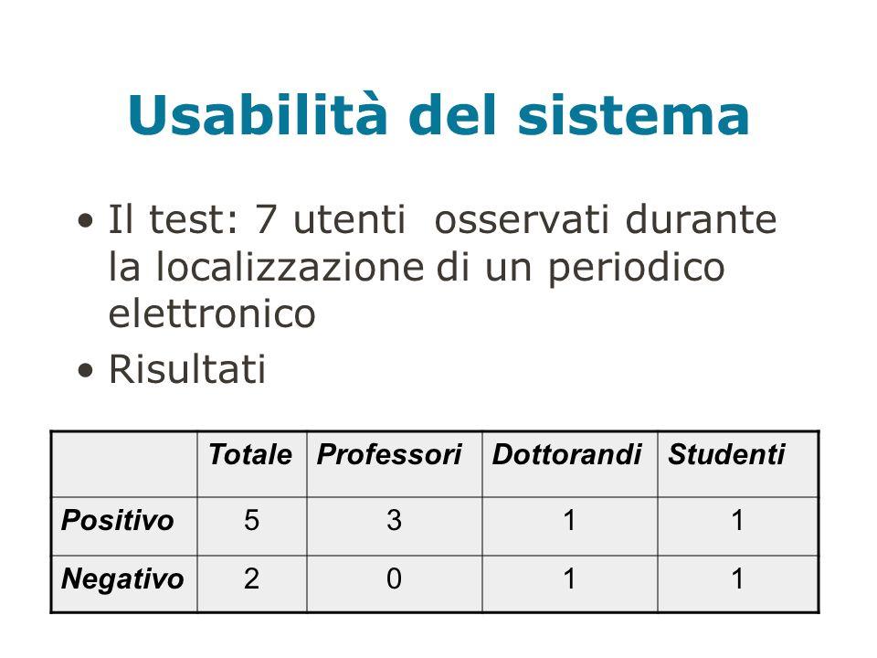 Usabilità del sistema Il test: 7 utenti osservati durante la localizzazione di un periodico elettronico Risultati TotaleProfessoriDottorandiStudenti Positivo5311 Negativo2011