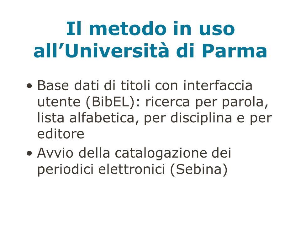 Il metodo in uso allUniversità di Parma Base dati di titoli con interfaccia utente (BibEL): ricerca per parola, lista alfabetica, per disciplina e per editore Avvio della catalogazione dei periodici elettronici (Sebina)