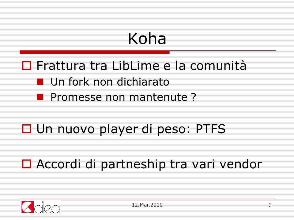 12.Mar.20109 Koha Frattura tra LibLime e la comunità Un fork non dichiarato Promesse non mantenute .