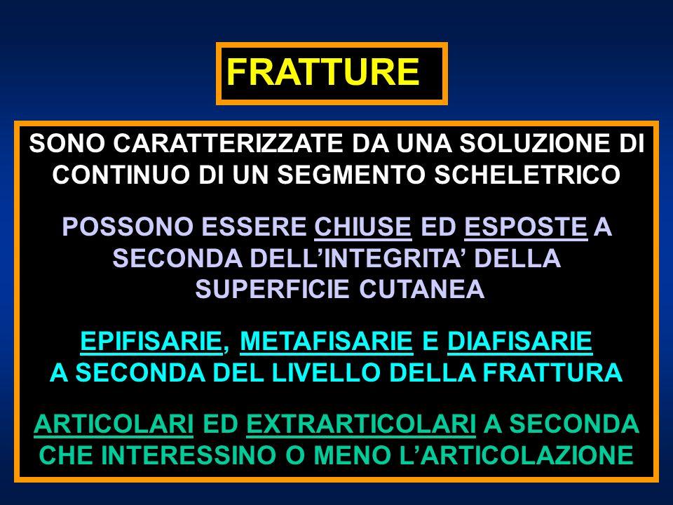 FRATTURE A SECONDA DELLA DIREZIONE DELLA RIMA DI FRATTURA: a)TRASVERSE; b) OBLIQUE; c) OBLIQUO-SPIROIDI; d) CON TERZO FRAMMENTO; e) PLURIFRAMMENTARIE