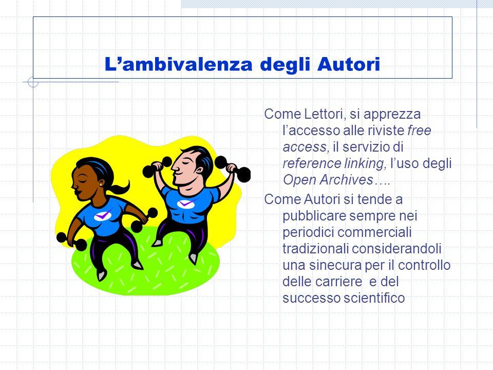 Lambivalenza degli Autori Come Lettori, si apprezza laccesso alle riviste free access, il servizio di reference linking, luso degli Open Archives….