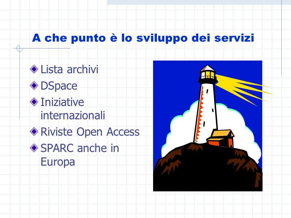 A che punto è lo sviluppo dei servizi Lista archivi DSpace Iniziative internazionali Riviste Open Access SPARC anche in Europa