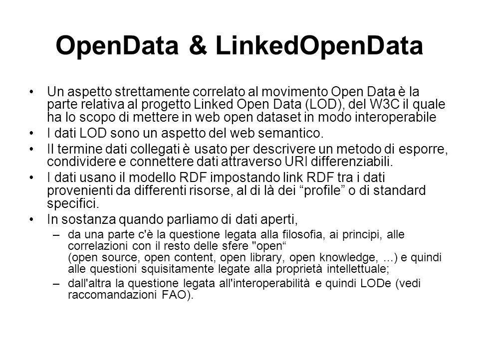 OpenData & LinkedOpenData Un aspetto strettamente correlato al movimento Open Data è la parte relativa al progetto Linked Open Data (LOD), del W3C il quale ha lo scopo di mettere in web open dataset in modo interoperabile I dati LOD sono un aspetto del web semantico.