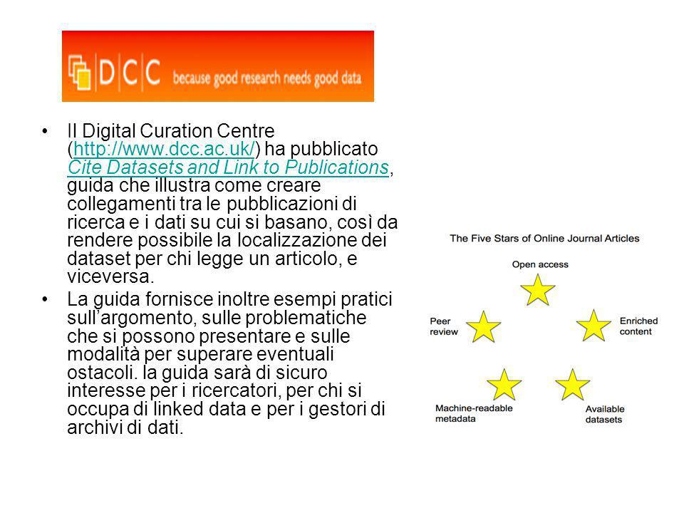 Il Digital Curation Centre (http://www.dcc.ac.uk/) ha pubblicato Cite Datasets and Link to Publications, guida che illustra come creare collegamenti t