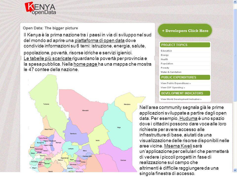 Il Kenya è la prima nazione tra i paesi in via di sviluppo nel sud del mondo ad aprire una piattaforma di open data dove condivide informazioni su 6 temi: istruzione, energia, salute, popolazione, povertà, risorse idriche e servizi igienici.