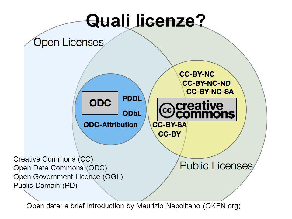 Open data: a brief introduction by Maurizio Napolitano (OKFN.org) Quali licenze? Creative Commons (CC) Open Data Commons (ODC) Open Government Licence