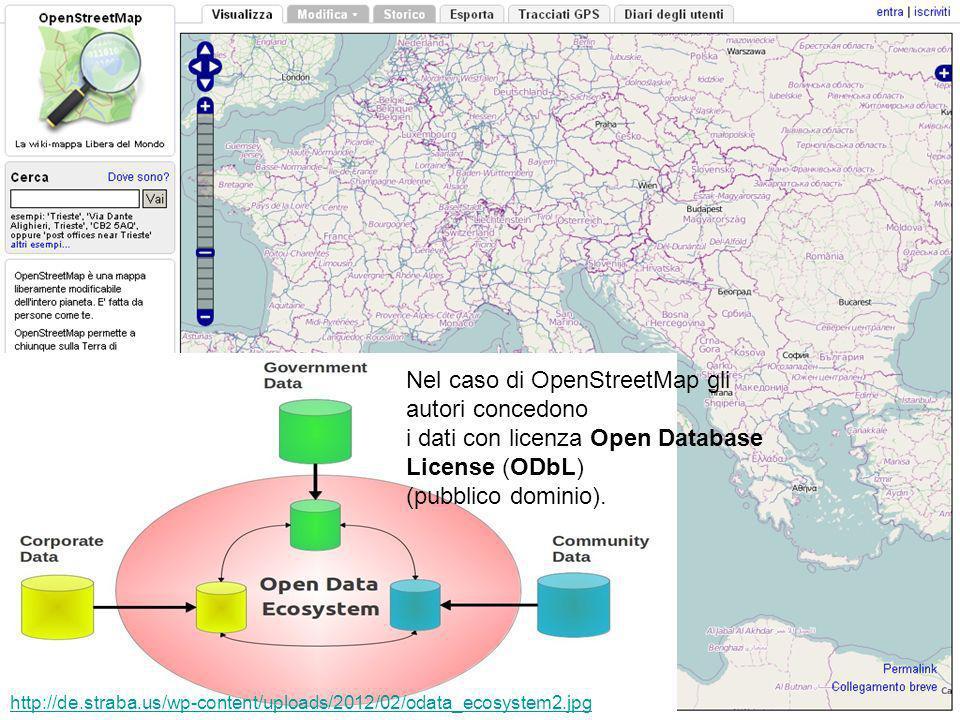 Nel caso di OpenStreetMap gli autori concedono i dati con licenza Open Database License (ODbL) (pubblico dominio).