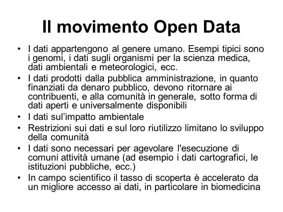 Il movimento Open Data I dati appartengono al genere umano. Esempi tipici sono i genomi, i dati sugli organismi per la scienza medica, dati ambientali