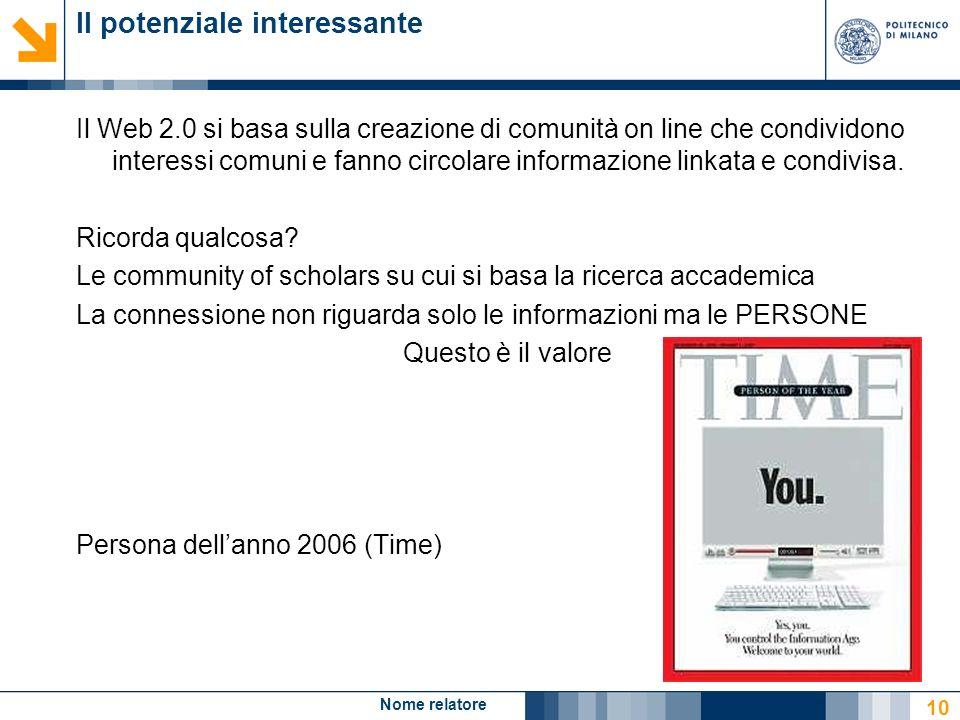Nome relatore 10 Il potenziale interessante Il Web 2.0 si basa sulla creazione di comunità on line che condividono interessi comuni e fanno circolare
