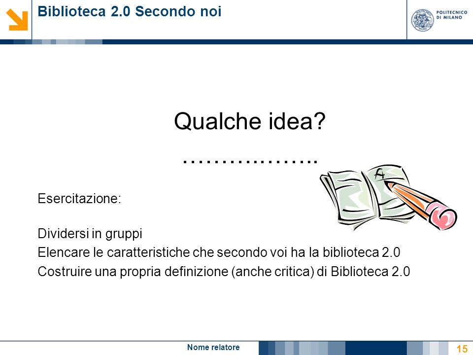 Nome relatore 15 Biblioteca 2.0 Secondo noi Qualche idea? ……….…….. Esercitazione: Dividersi in gruppi Elencare le caratteristiche che secondo voi ha l