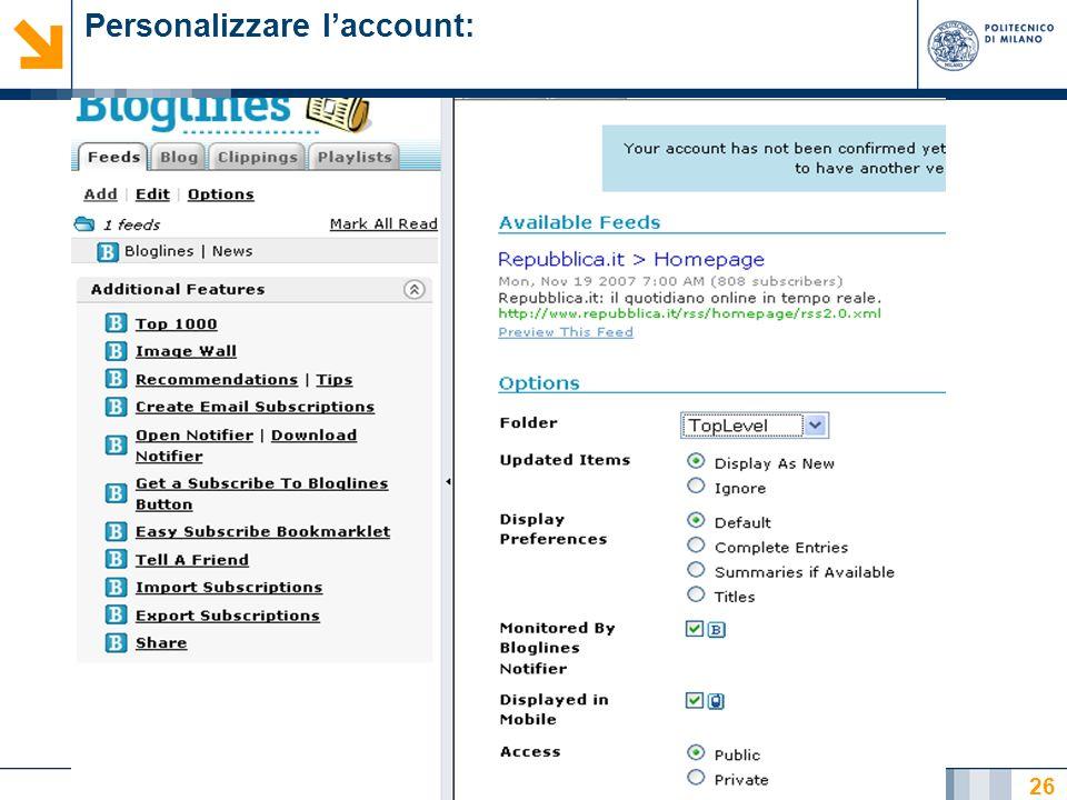 Nome relatore 26 Personalizzare laccount: