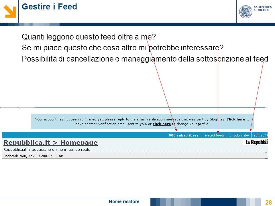 Nome relatore 28 Gestire i Feed Quanti leggono questo feed oltre a me? Se mi piace questo che cosa altro mi potrebbe interessare? Possibilità di cance
