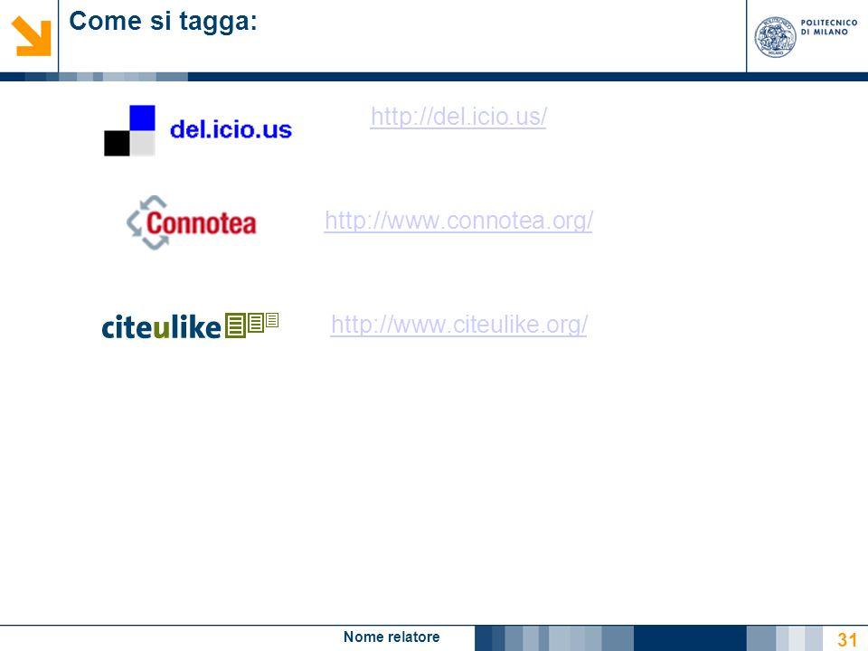 Nome relatore 31 Come si tagga: http://del.icio.us/ http://www.connotea.org/ http://www.citeulike.org/