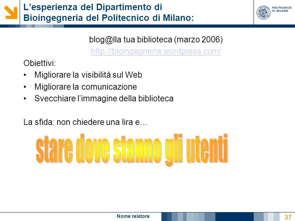Nome relatore 37 Lesperienza del Dipartimento di Bioingegneria del Politecnico di Milano: blog@lla tua biblioteca (marzo 2006) http://bioingegneria.wo