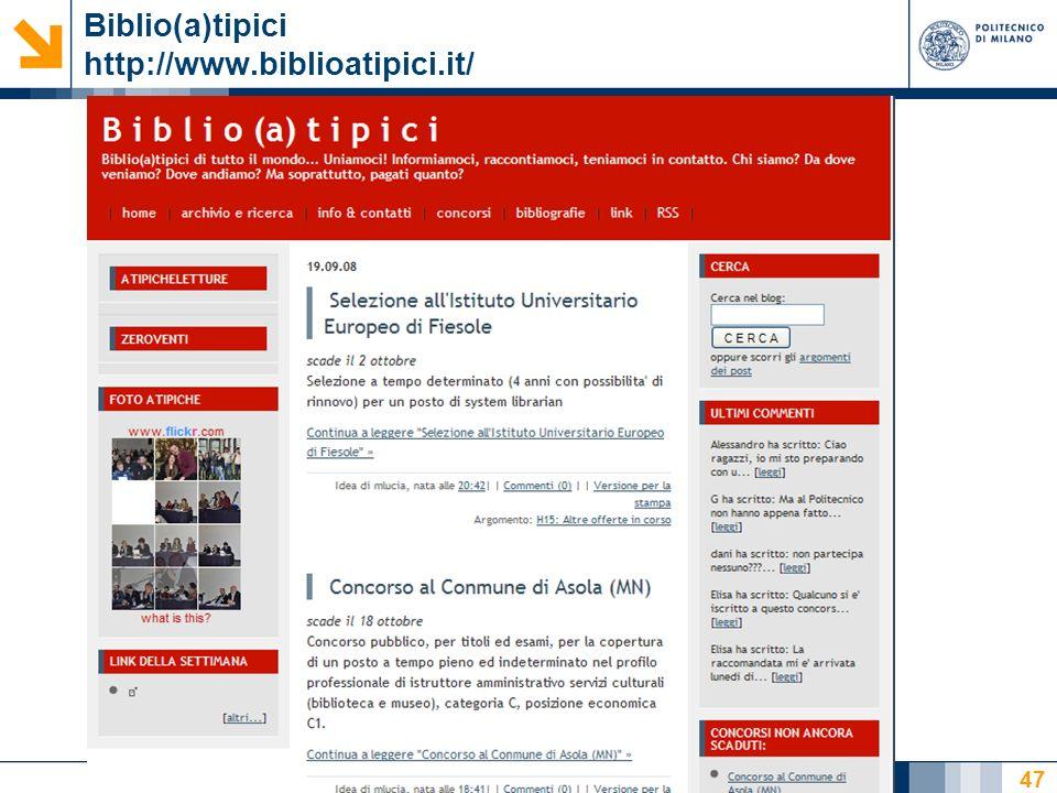 Nome relatore 47 Biblio(a)tipici http://www.biblioatipici.it/