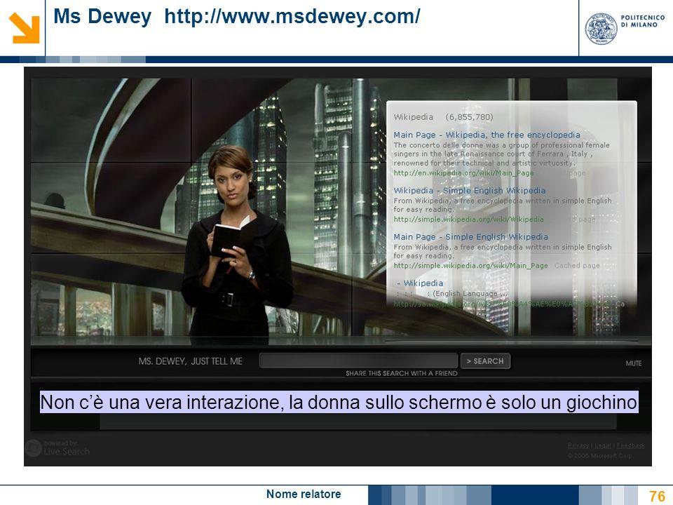 Nome relatore 76 Ms Dewey http://www.msdewey.com/ Non cè una vera interazione, la donna sullo schermo è solo un giochino