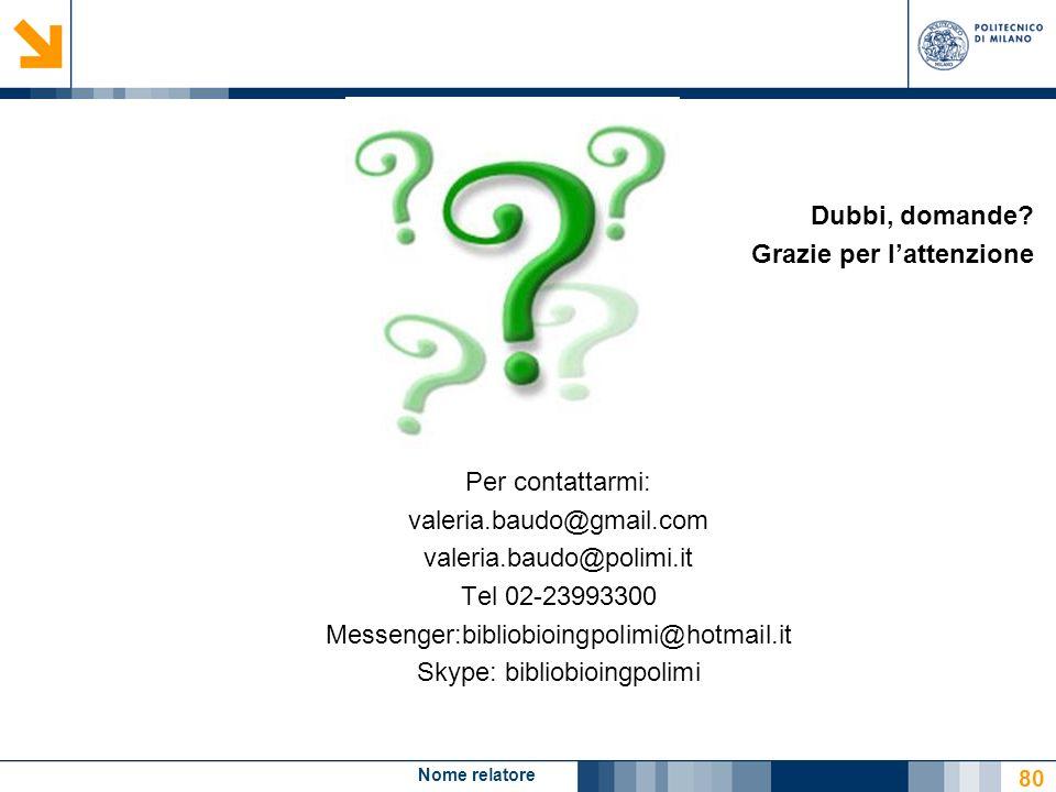 Nome relatore 80 Dubbi, domande? Grazie per lattenzione Per contattarmi: valeria.baudo@gmail.com valeria.baudo@polimi.it Tel 02-23993300 Messenger:bib