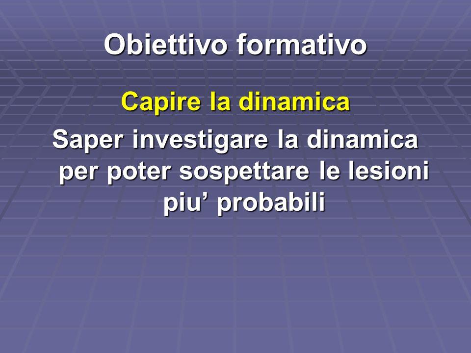 Obiettivo formativo Capire la dinamica Saper investigare la dinamica per poter sospettare le lesioni piu probabili