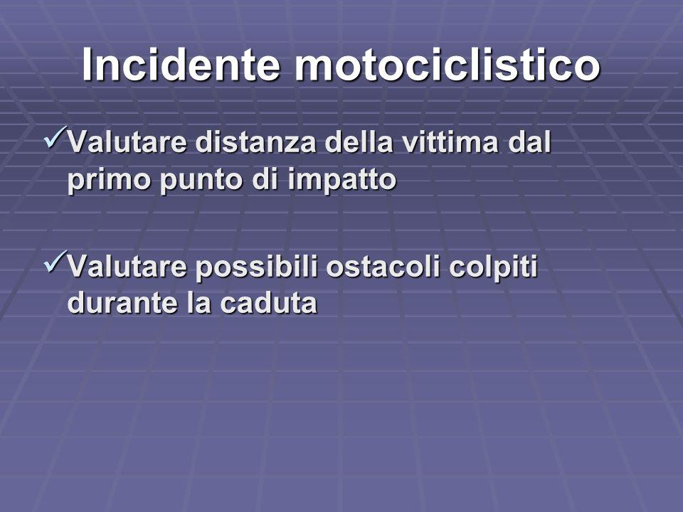Incidente motociclistico Valutare distanza della vittima dal primo punto di impatto Valutare distanza della vittima dal primo punto di impatto Valutar