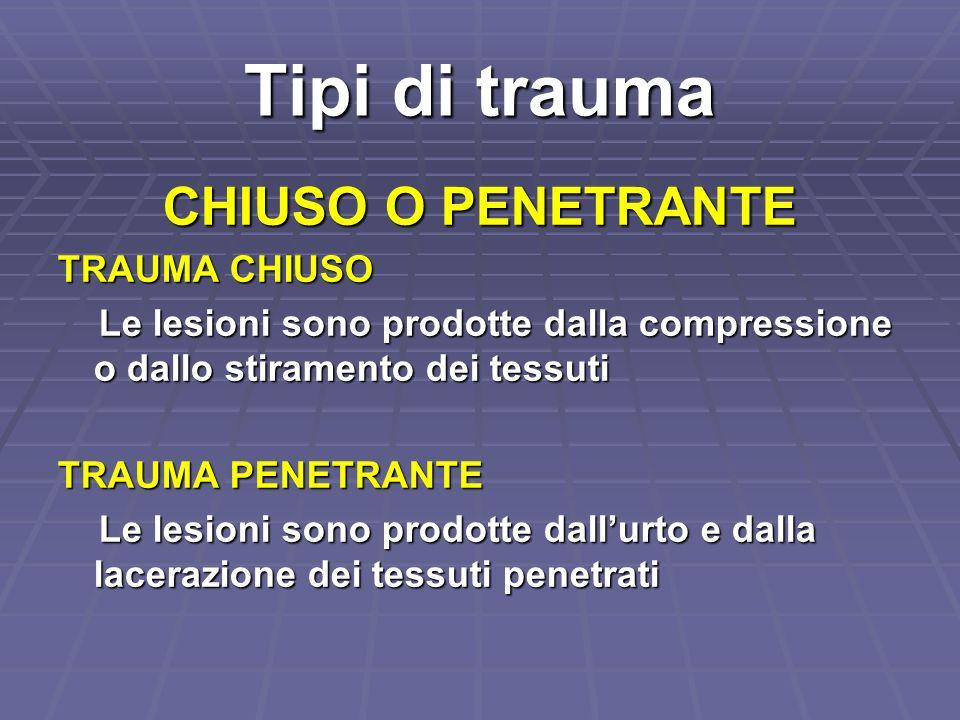 Tipi di trauma CHIUSO O PENETRANTE TRAUMA CHIUSO Le lesioni sono prodotte dalla compressione o dallo stiramento dei tessuti Le lesioni sono prodotte d