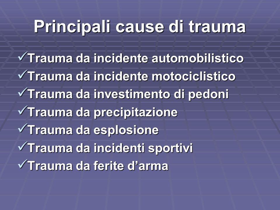 Impatto laterale: tipo di lesioni Trauma cranico Trauma cranico Trauma cervicale Trauma cervicale Traumi della colonna Traumi della colonna Trauma toraco- polmonare Trauma toraco- polmonare Trauma addominale (rottura milza e fegato) Trauma addominale (rottura milza e fegato)