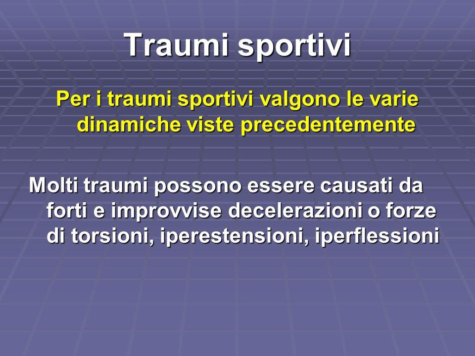Traumi sportivi Per i traumi sportivi valgono le varie dinamiche viste precedentemente Molti traumi possono essere causati da forti e improvvise decel