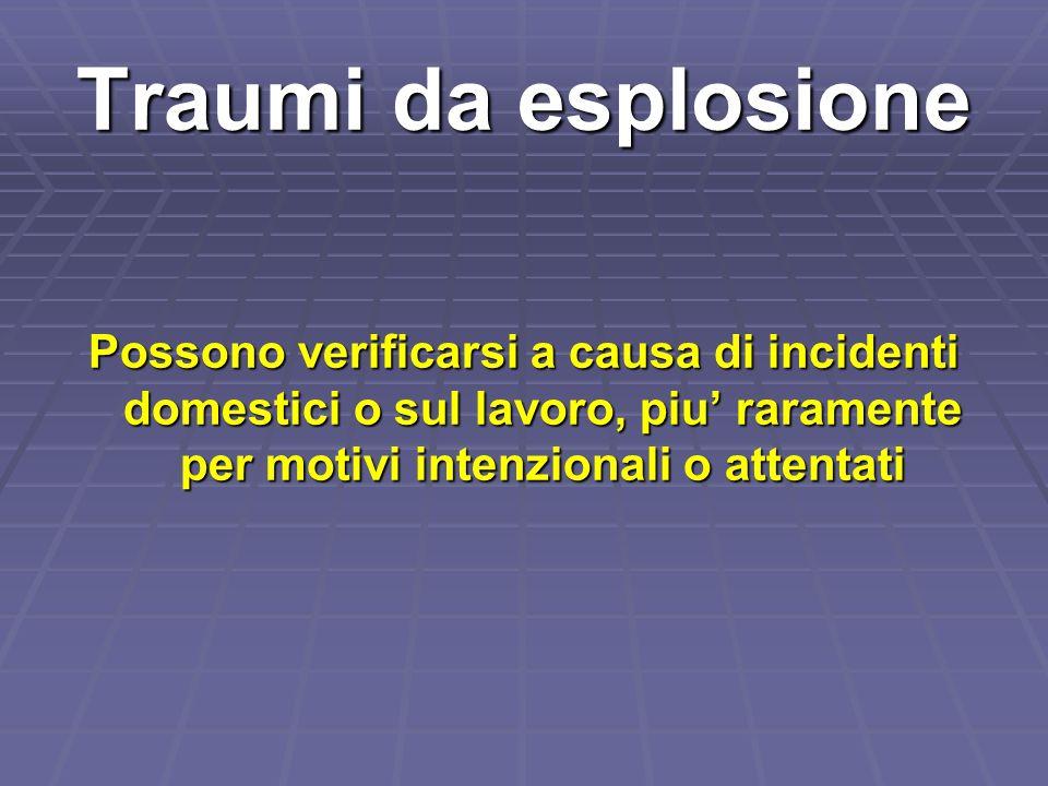 Traumi da esplosione Possono verificarsi a causa di incidenti domestici o sul lavoro, piu raramente per motivi intenzionali o attentati