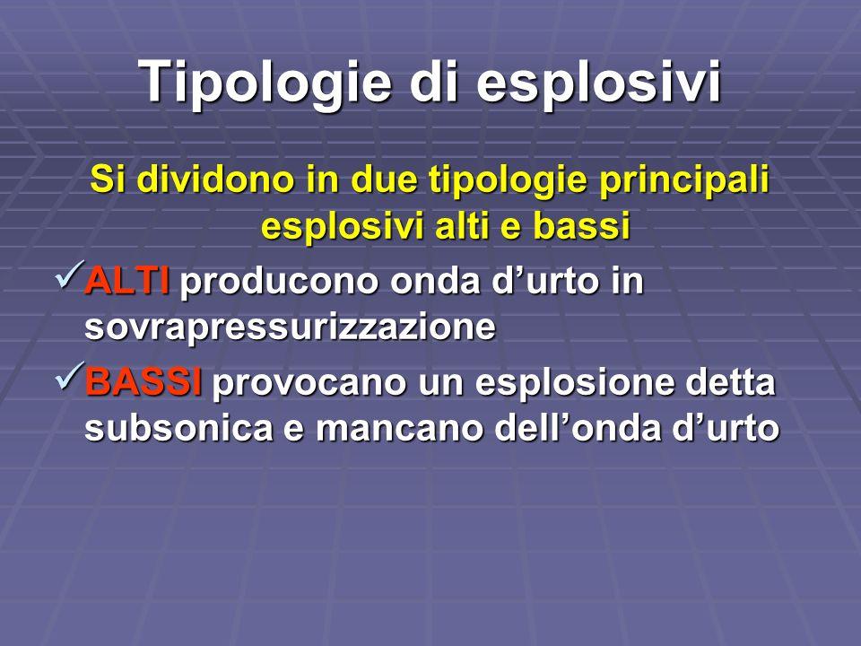 Tipologie di esplosivi Si dividono in due tipologie principali esplosivi alti e bassi ALTI producono onda durto in sovrapressurizzazione ALTI producon