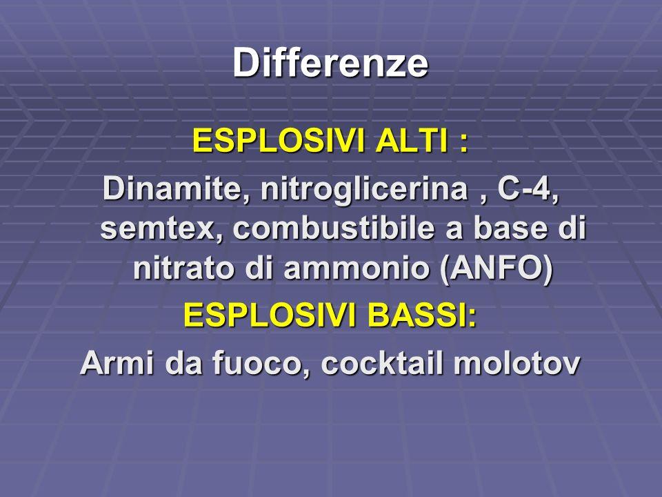 Differenze ESPLOSIVI ALTI : Dinamite, nitroglicerina, C-4, semtex, combustibile a base di nitrato di ammonio (ANFO) ESPLOSIVI BASSI: Armi da fuoco, co