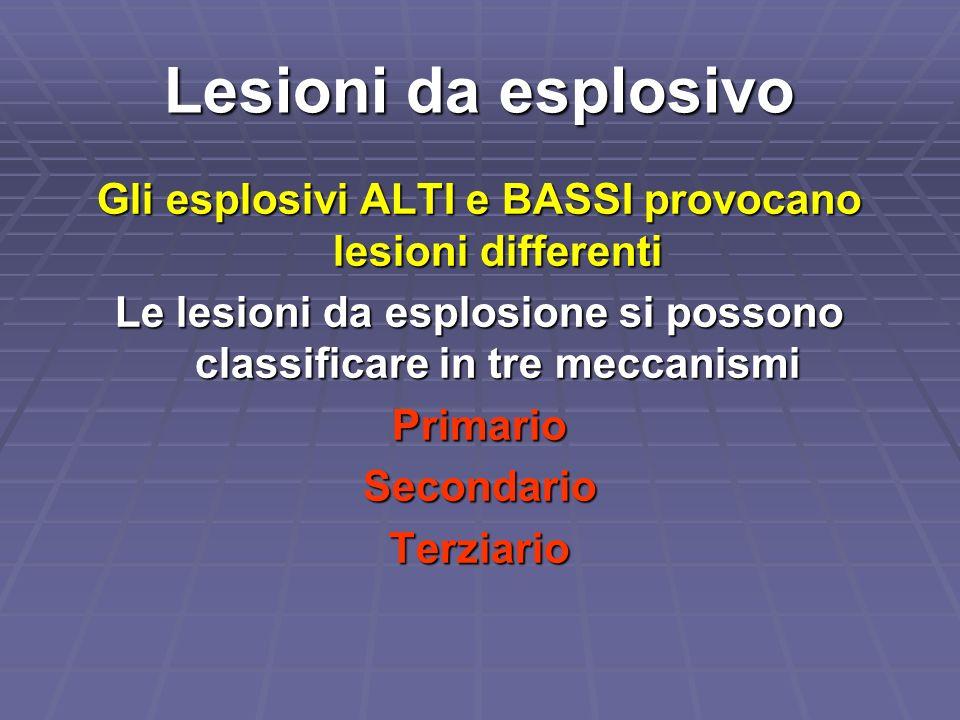 Lesioni da esplosivo Gli esplosivi ALTI e BASSI provocano lesioni differenti Le lesioni da esplosione si possono classificare in tre meccanismi Primar