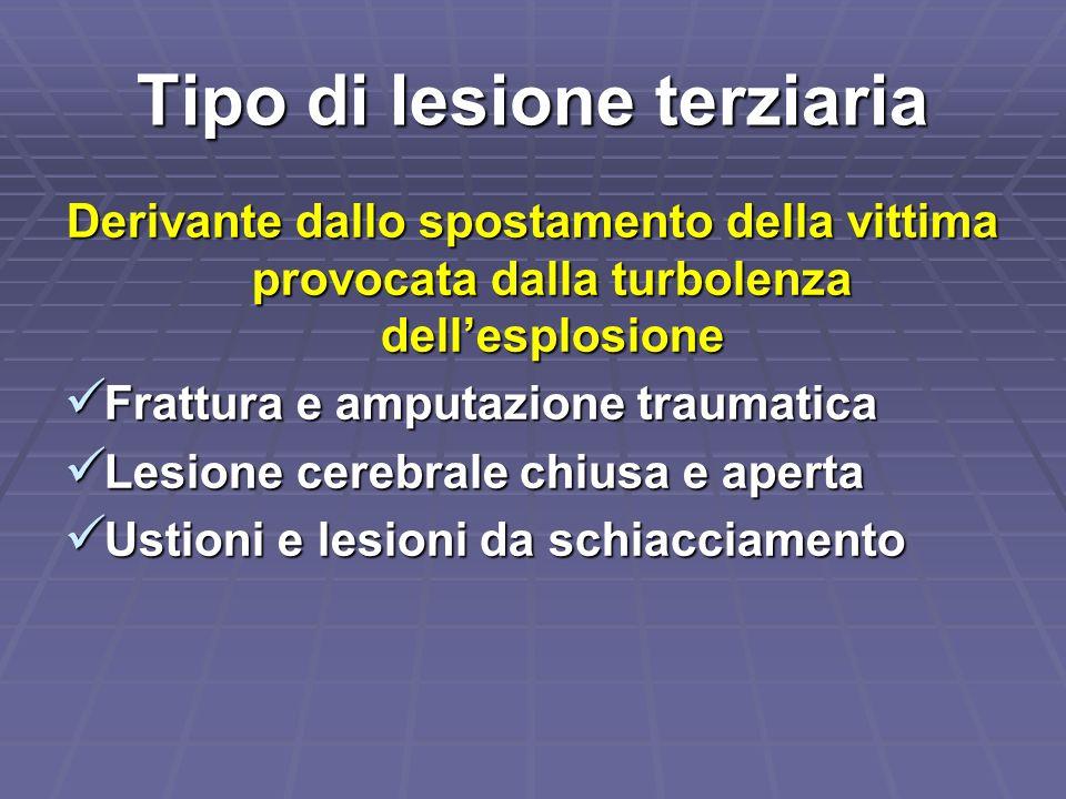 Tipo di lesione terziaria Derivante dallo spostamento della vittima provocata dalla turbolenza dellesplosione Frattura e amputazione traumatica Frattu