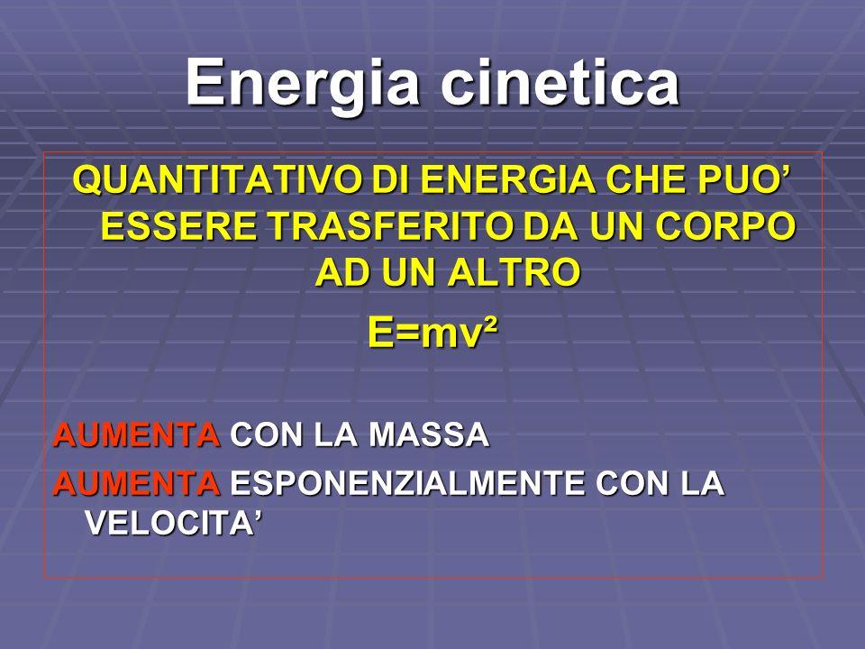 Energia cinetica QUANTITATIVO DI ENERGIA CHE PUO ESSERE TRASFERITO DA UN CORPO AD UN ALTRO E=mv² AUMENTA CON LA MASSA AUMENTA ESPONENZIALMENTE CON LA