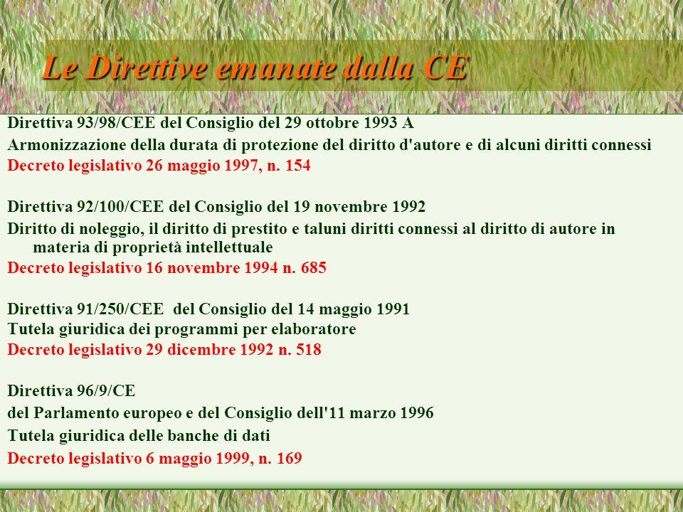 Le Direttive emanate dalla CE Direttiva 93/98/CEE del Consiglio del 29 ottobre 1993 A Armonizzazione della durata di protezione del diritto d'autore e
